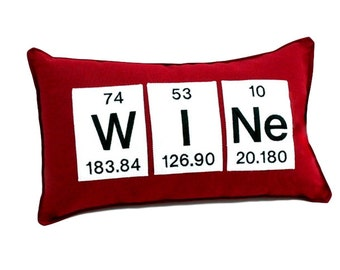 Wine  Periodic Table Chemical Element  Embroideried Pillow