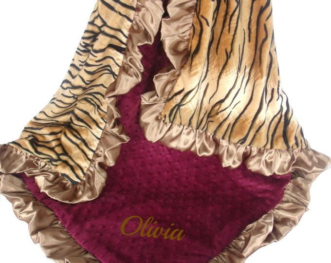 Burgundy Wine Gold Tiger Minky Baby Blanket,  3 Sizes