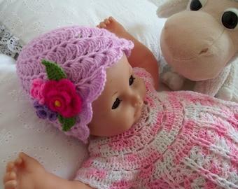 CROCHET PATTERN Baby Beanie Hat - Bonita Hat - Pattern for babies Beanie hat with crochet flowers Instant Download pdf pattern