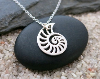 Nautilus Necklace, Sterling Silver Nautilus Shell Charm, Ocean Jewelry
