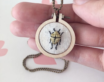 Necklace | Embroidery | Pendant | Beetle | Insect | Gold