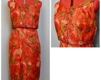 Mardi Gras Tulips 1950s Wiggle Dress