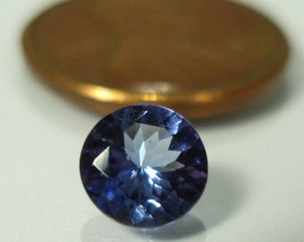 TANZANITE, fine quality 6 mm faceted round gemstone , 0.965 carats blue violet tanzanite gemstone, ring or accent stone
