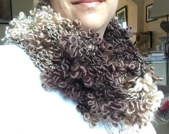Brown and cream cowl