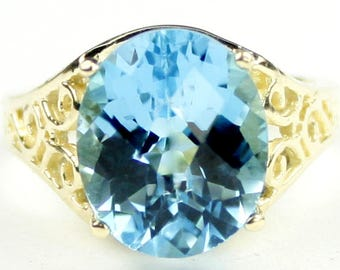 Swiss Blue Topaz, 14KY Gold Ring, R057