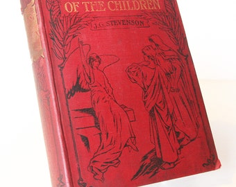 Christ of the Children Vintage 1910s Antique Religious Book blue illustrated christian gift bible christianity Red
