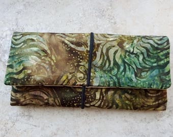 Cord Organizer, Travel Organizer, Cord Wrap, Cord Case, Green Batik Fabric Cord Roll, Cord Case, Travel Gift, Tablet Cord Storage Roll