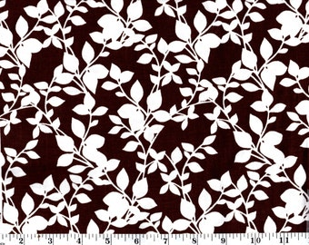 1 yard, White Leaves and Stems on Brown Cotton