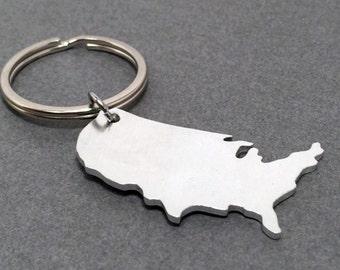 United States Keychain, USA Keychain, Aluminum keychain, State Keychain, Gift for her, Gift for him, Boyfriend Gift, Girlfriend gift