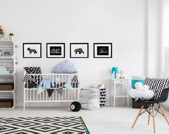 8.5x11 Black and white Dude Nursery art set