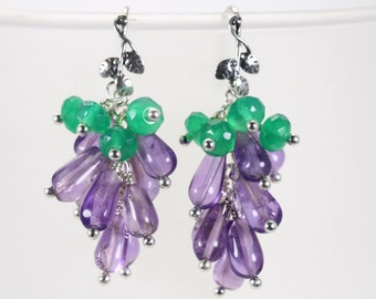 Amethyst Green Onyx Cluster Earrings, purple bead earrings