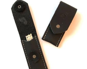 Black leather toothpick holder