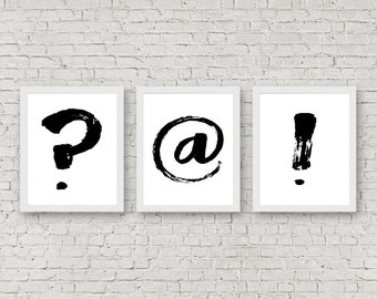 Minimalist Wall Art Set Of 3 - Monochrome Office Wall Decor- Question Mark/ At/ @ Sign/ Exclamation Point Print- Teen Room Art - Puntuation