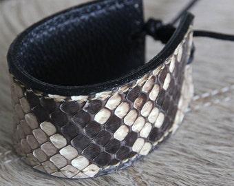 Genuine Python Leather Bracelet/Python Snakeskin/Exotic Leather/Thick Cuff Bracelet