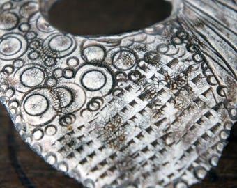 Dramatic Handmade Rustic Organic Bohemian Grungy Polymer Clay Tribal Focal Pendant