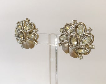 Stunning Vintage Crown Trifari BIG Silver Rhinestone Cluster 50's Earrings