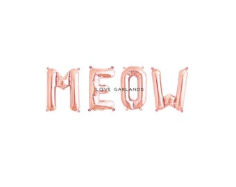 Meow Letter Balloons, Meow Rose Gold Balloons, Meow Baby Shower, Meow Party, Meow Banner, Cat Themed Party Decor, Rose Gold Letter Balloons