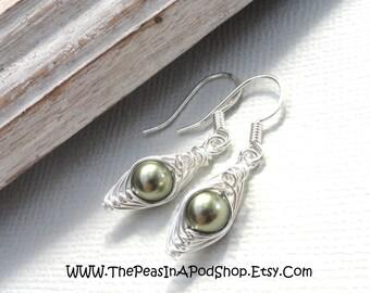 Peas in a pod, Peapod earrings, one pea in a pod earrings, silver earrings, green peas in a pod earrings