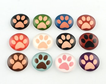 20 Assorted Glass Paw Print Cabochons   12 mm Paw Prints