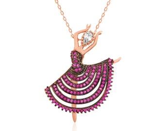 Silver Pink Ballerina Necklace - IJ1-1771
