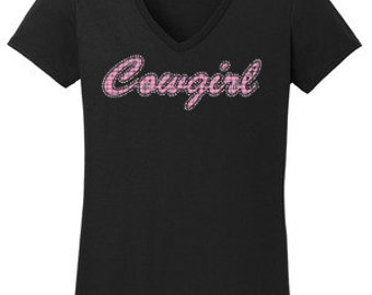 Cowgirl Rhinestone w/ Vinyl T-Shirt Made to order