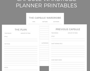 Capsule Wardrobe Planner Printables A4 and US Letter Size