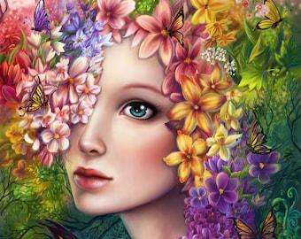 Counted cross stitch pattern - Floral fantasy portrait - Large cross stitch chart - Cross stitch woman - Cross stitch design - Printable PDF