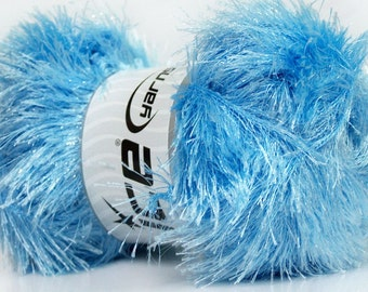 100 gram skein Baby Blue Eyelash Glitz #46562 Ice Sparkly Light Blue Eyelash Yarn 153 yards