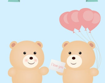 Gay Teddy Bear Couple - Gay birthday card - same sex birthday card - gay birthday gift - gay boyfriend birthday card - gay boyfriend card