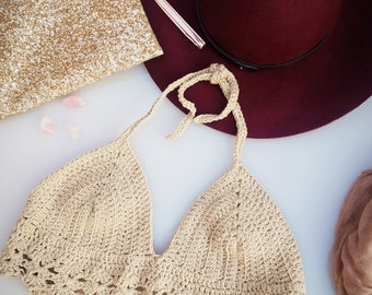 Bikini Top | Crochet Festival Crop Top | Beachwear Crochet | Summer Festival clothing | Boho Clothing | Hippie Style | Sexy crochet Crop top