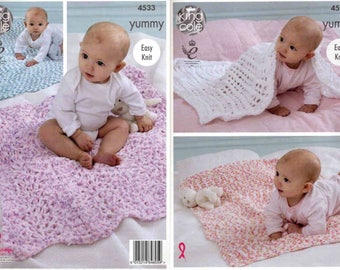 King Cole Knitting Pattern 4533~Four Easy Baby Blankets~Chunky