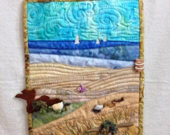 Beach art// seaside mini quilt //fabric art //collage // vacation art