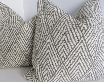 Tahitian Stitch Pillow Covers- Lacefield Design Pillows- Taupe Beige Pillow Covers- Accent Taupe Pillows- Pillow Covers- Accent Pillows