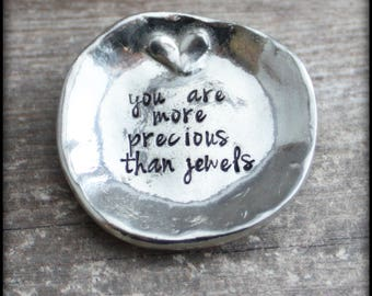Trinket Dish, Ring Dish, Personalized Ring Dish, Hand Stamped Trinket Dish, Pewter Ring Plate, Wedding Gift, Mother's Day, Mama Mia