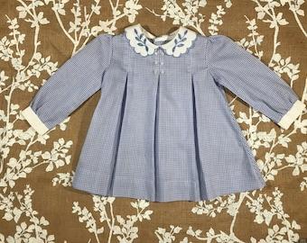 2T-3T Pleated Gingham Vintage Toddler Girls Dress