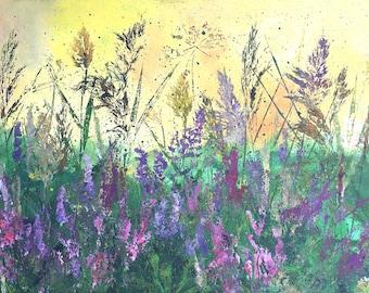 Original Botanical Painting by GardenArtsStudio Blooming heathers- Green Lilac Purple Grey color