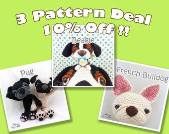PDF Amigurumi / Crochet Pattern Special 3-Pattern Deal: Pug, French Bulldog, Beagle - Dashy and his baby CPD-16-3314