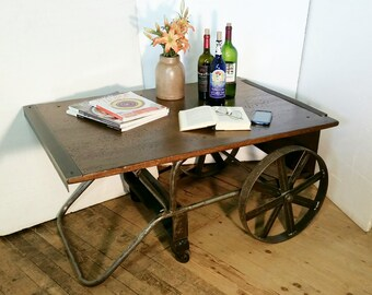 Coffee Table End Table Vintage Industrial Cylinder Cart Factory Metal Cart Man Cave Table Custom Oak Top