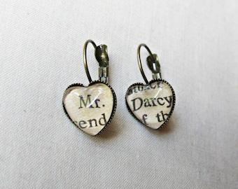 Pride and Prejudice Earrings - Jane Austen Gift Mr Darcy Dangle Heart - Jewellery Jewelry For Women Leverback
