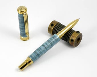 Gold Titanium Rollerball Pen - Blue Dyed Curly Maple Rollerball Pen - Postable