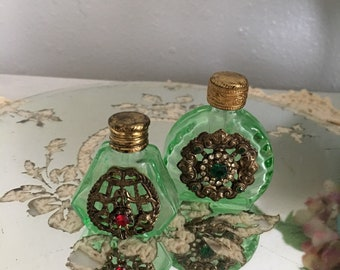 Antique Perfume Bottles ~ Green Glass Czech Bottles With Rhinestones ~ Glass bottles with Daubers ~ Collectible ~ Miniature Perfume Bottles