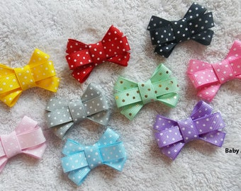 Baby Bow Set of 3 - Newborn, Baby Girl, Toddler Girl, Bow Set, Pigtail Bow, Baby Bow, Baby Girl Bow, Polka Dot Bow, Mini Bow, Itty Bitty