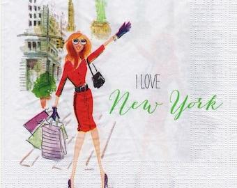 266 I LOVE NEW YORK pattern paper 4 X 1 towel