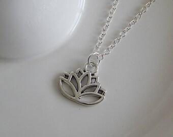 Silver Lotus Flower Charm Necklace, Lotus Flower Charm Pendant, Silver Lotus Necklace, Lotus Flower Choker, Spiritualist Necklace