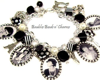 Coco Chanel Charm Bracelet Jewelry, Picture Charm Bracelet, Photo Charm Bracelet, French, Paris, Famous Women