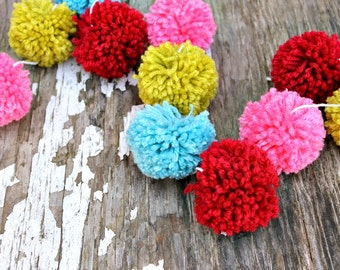 Red, Turquoise, Pink and Green   Yarn Pom Pom Garland   Pompoms   Christmas Garland   Christmas Decor   Holiday Decor   Buntings   Props