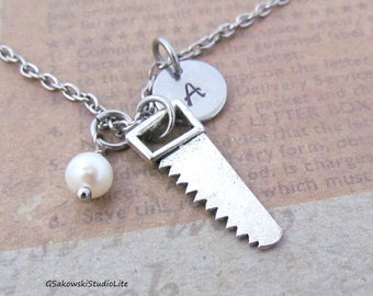 Saw Charm Necklace, Personalized Hand Stamped Initial Monogram Birthstone Antique Silver Hand Saw Charm Necklace