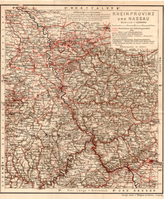 1909 Prussia Antique Map Rheinprovinz Provinz Rheinland