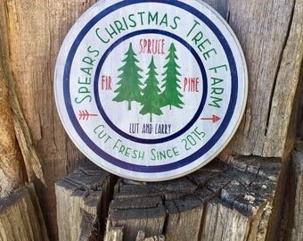 Personalized Christmas Tree Farm Sign. Christmas Wood Sign. Christmas Tree Farm.