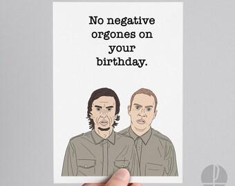 Peep Show   Super Hans   Jeremy Usbourne   Birthday card   Greetings card   No negative orgones on your birthday